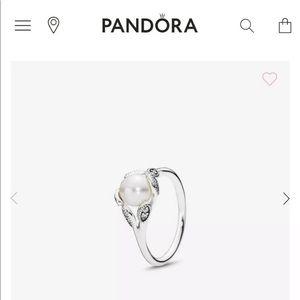 Authentic Pandora Luminous Leaves Ring Pearl